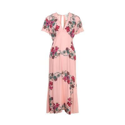 flower pattern v-neck long dress